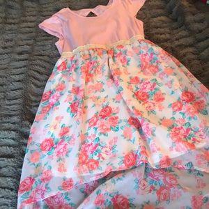 Rose cutout dress L 10 high low crochet belt pink